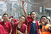 Monks protesting in Lhasa